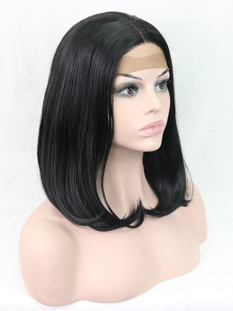 Elegant black synthetic lace front wig