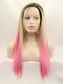 Crystal Pink Synthetic lace front wig