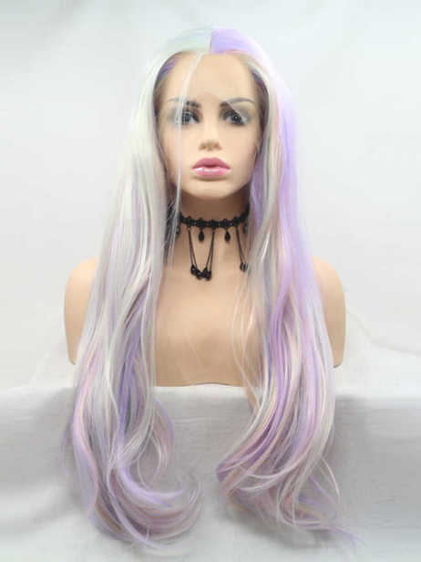 Milk macaron Synthetic lace front wig