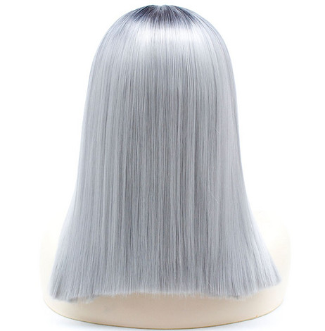 Silver gray Synthetic lace front wig