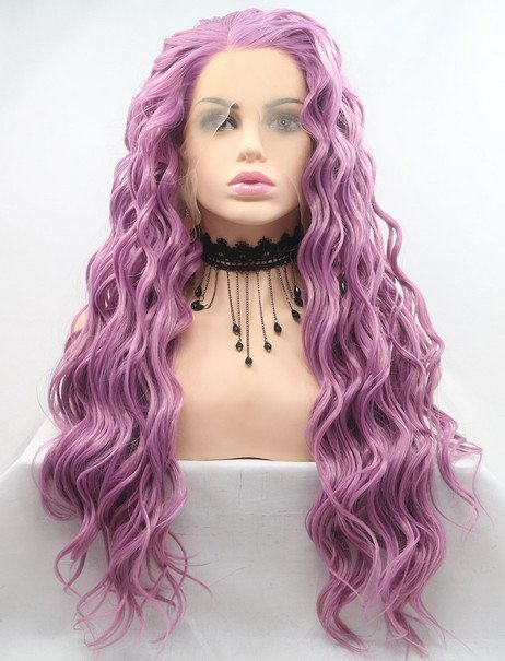 Crushed amethyst synthetic lace front wig