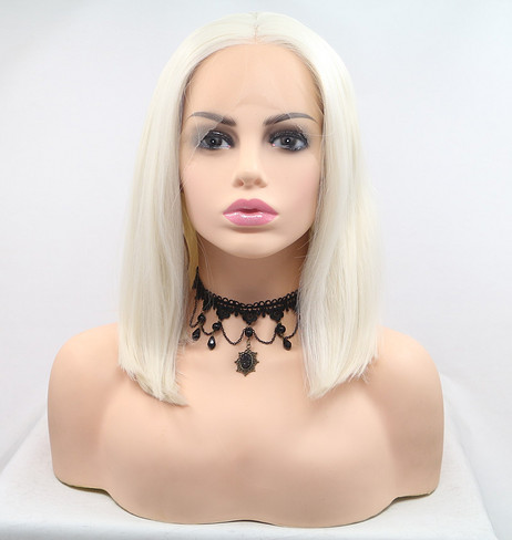 Elegant white Synthetic lace front wig